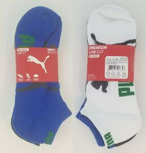 6 Pack Puma Mens Low Cut Socks Blue, white and Gray