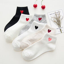 Cute Women Girls Heart Pattern Soft Breathable Ankle-High Casual Cotton Socks CN