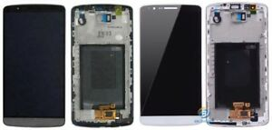 OEM LG G3 LCD Touch Screen Assembly with Frame Replacement Black and White