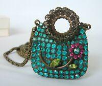 Vintage Dorothy Bauer Rhinestone Purse Handbag Photo Locket Pendant Necklace 80s