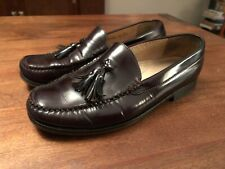COLE HAAN Mens Size 10.5 Dark Brown Leather Slip On Tassle Penny Loafers
