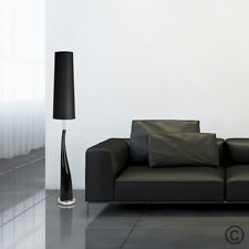 Modern Gloss Black Ceramic  Silver Chrome Floor Standing Standard Lamp Light