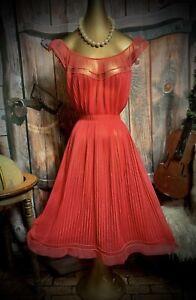 Vintage Vanity Fair Nightgown Sweep Nightie Pleat Sheer  Chiffon 60's Gown 36 M