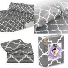 Full Size 4 Pcs Luxurious Bed Sheet Set Comfortable Soft Microfiber Grey Sheets