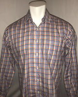 Peter Millar Mens Medium Long Sleeve Shirt 100% Cotton Plaid Blue Purple Black