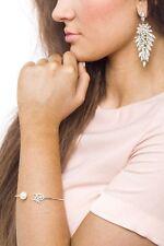 Bracelet Women Bangle Jewelry Stainless Steel Silver Leaf Cuff Wristband Gift