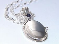 925Sterling Silver4mm Natural Lolite Locket H2O Just Add Water Mermaids Necklace