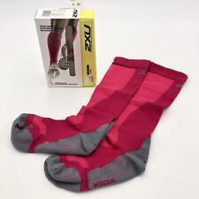 2XU Women's Performance Compression Run Sock, Hot Pink/Grey, Medium