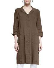Eileen Fisher New WHITE Linen Viscose Stretch Classic Collar Shirt Dress PP $338