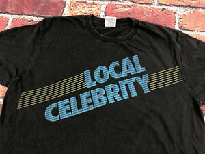 LOCAL CELEBRITY Spell Out Logo T Shirt Mens Adult Large Faded Black