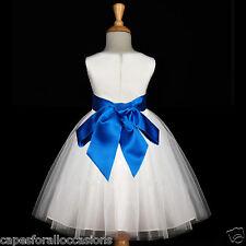 IVORY FLOWER GIRL DRESS WEDDING TULLE PAGEANT CHRISTMAS TULLE 12-18M 2 4 6 8 10