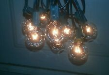 15 Foot Globe Style Patio Lights Set of 15 G50 7W Clear Bulbs Green Wire