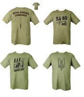 Military British Army Combat Printed T-Shirt SA80 Para SAS Parachute SA-80 Green
