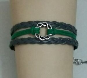 GREEN & GRAY DOUBLE CIRCLE ADJUSTABLE LEATHER BRACELET - FAMILY - LOVE - #7