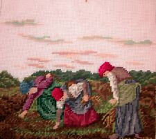 EP 2666/2 Madeira Ladies Digging Potatoes Farm Preworked Needlepoint Canvas