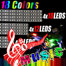 Addmoto Motorcycle Multi-color 12X Universal RGB 18 Colors LED Light Strips Kit
