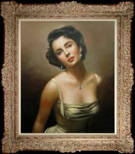 "Hand painted Art Original Oil Painting Elizabeth Taylor on Canvas 20""x24"""