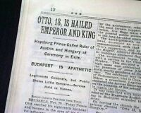 OTTO VON HABSBURG Becomes Emperor of Austria and King of Hungary 1930 Newspaper