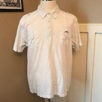 Marc Ecko Mens 2X Shirt Cut & Sew Deadly Threads Burnout White XL Button Front