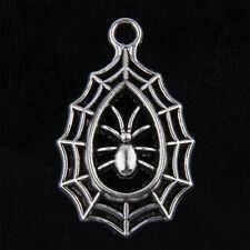 6pcs Tibetan Silver Spider Web Chrms Pendants for Jewelry Making 34mm J012P
