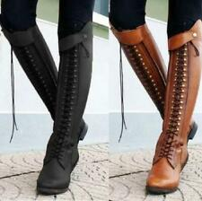 Women Knee High Knight Boots Low Heels Lace Ups Round Toe Combat Biker Shoes