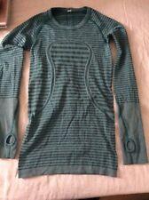 Lululemon Women's Green Stripey Long Sleeve Crew Neck Activewear Top Extra Small