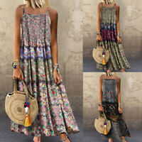 Women Vintage Bohemian Floral Print Sleeveless O-Neck Strappy Casual Maxi Dress