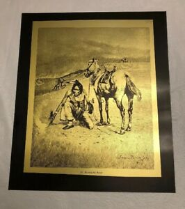 FREDERIC REMINGTON 1887 INDIAN BURNING THE RANGE FIRE ETCHING ART WORK 12.5X10.5