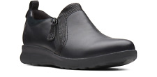 Women's Clarks Un Adorn Zip Black Leather Comfort Shoes 261 37017