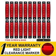 "20 Pcs Side Marker Tail Light 6 LED 3.8"" Red Color Truck Trailer Boat RV ATV Cab"