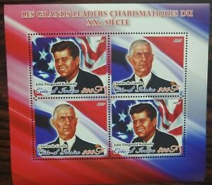 Ivory Coast 2011 John F Kennedy Charles De Gaulle Flag Stamp sheetlet