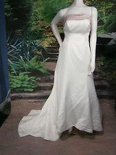 MON  CHERI BRIDAL WHITE PINK NECK SIZE 2 WEDDING GOWN PRINCESS CRINOLINE BUSTLE