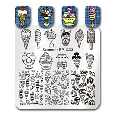Square Nail Art Stamp Template Summer Icecream Image Printing Plate Born Pretty