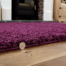 Medium 5cm High Pile Modern Thick Aubergine Colour Shaggy Rugs 110 X 160 Cm