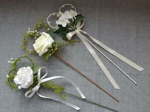 Pretty rose hydrangea flower girl bridesmaid heart wand wedding posy bouquet