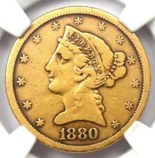 1880-CC Liberty Gold Half Eagle $5 Coin - NGC VG Details - Rare Carson City!