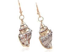 Gold Tone Brown White Nautical Ocean Faux Conch Shell Fish Hook Earrings