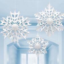 3 X Flocon de Neige de Noël Papier Ventilateurs Blanc Large Hiver Fête