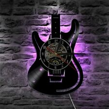 LED Wall Clock Vinyl Record Modern Design Music Theme Guitar Watch Home Decor