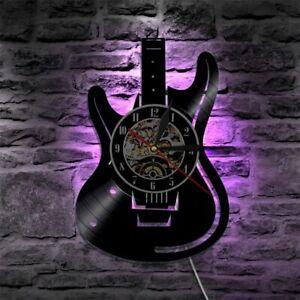 LED Wall Clock Vinyl Record Modern Design Music Theme Guitar Watch Home Decor