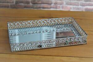 Tablett Spiegeltablett Steine Metall Dekotablett Kerzen Silber  36cm  Neu