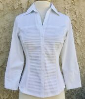 NOS NWT SIGNATURE BY LARRY LEVINE FITTED DRESS BLOUSE STRETCHY WOMENS PETITE SM