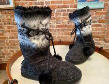 MUK LUKS Gracie Black Tall Slippers Boot Faux Fur Poms New