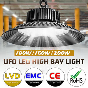 150W 200W High Bay UFO LED Work Light Industrial Warehouse Shed Farm Gym Lamp