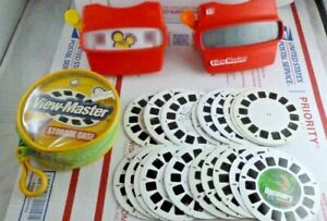 2 Vintage View-Masters with 29 Reels + Case Red 3D Viewers Bundle Set Lot Disney