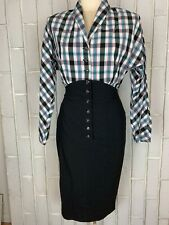 EUC Bettie Page By Tatyana Rockabilly VLV Pink Blue Plaid Black Wiggle Dress M