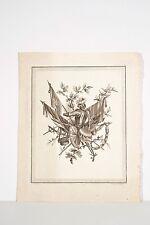 Gravure XVIII° Voysard d'ap. Ranson Trophées Militaires Armure Drapeaux Bouclier