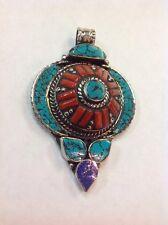 Tibetan Buddhist Turquoise Lapis Coral Pendant Necklace Locket Handmade Nepal