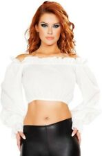 Ruffled Pirate Tube Top Costume Shirt Blouse Womens Medieval Off Shoulder - L -