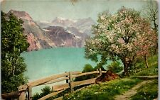 Painted Art Mountains on River Wood Fence Vintage Postcard FF1-165